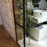 Vetrata bagno con bamboo